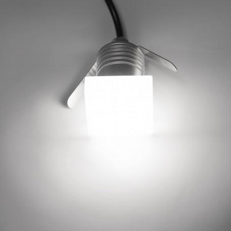 Faretto LED 1W Quadrato, chip Epistar High Lumen, 12-24Vdc,angolo 180°, IP65, dim. 36x36x39mm foro 27mm – SERIE PRO