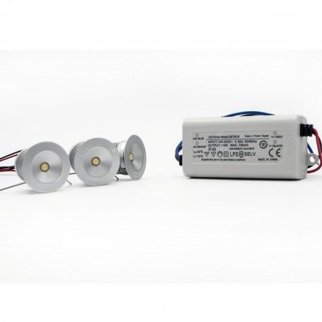 Kit 3 Faretti Segnapasso LED da3W