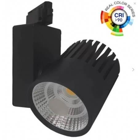 Faretto LED 40W Nero per Binario Monofase CRI90
